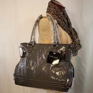 Cynthia Rowley Gray Plush Patent Leather Handbag